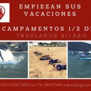 campamento de verano surfeando
